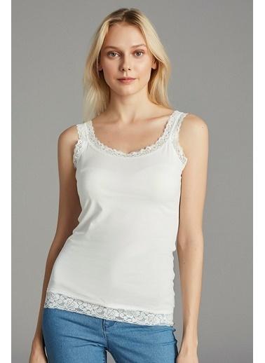 Penti Kırık Beyaz Basıc Lace Atlet Beyaz